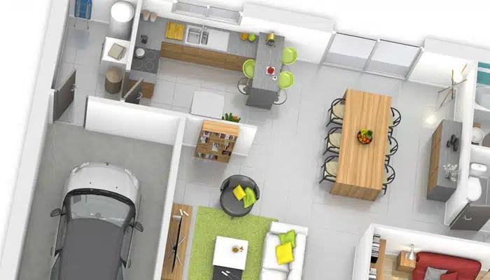 Plan maison 3D - maison plain pied Fidji
