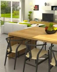 Vue 3D - maison en l de plain pied