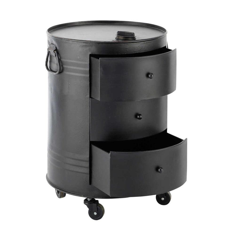 Bout De Canap Bidon En Mtal Noir L 42 Cm CLARK Maisons