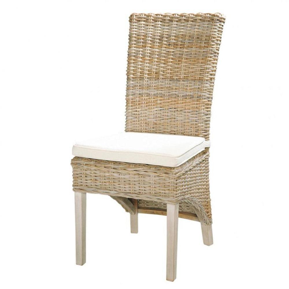 Kubu Rattan And Solid Mahogany Chair In Grey Finish Key