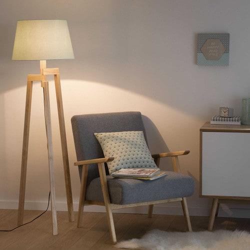 Lampadaire trépied Pastel en bois H 150 cm