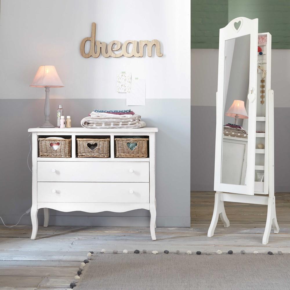 Miroir Psych Avec Rangement Blanc H 160 Cm VALENTINE