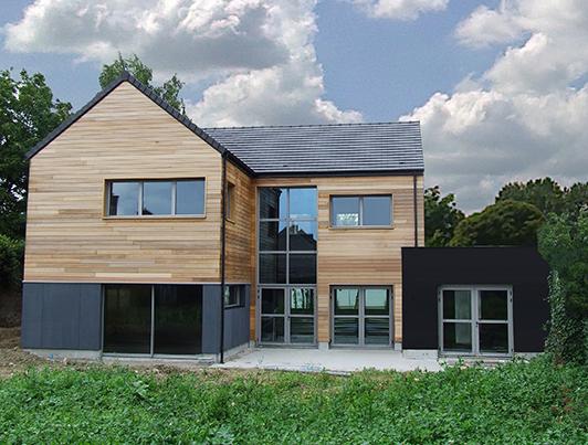 maison contemporaine en ossature bois alternative bois concept. Black Bedroom Furniture Sets. Home Design Ideas