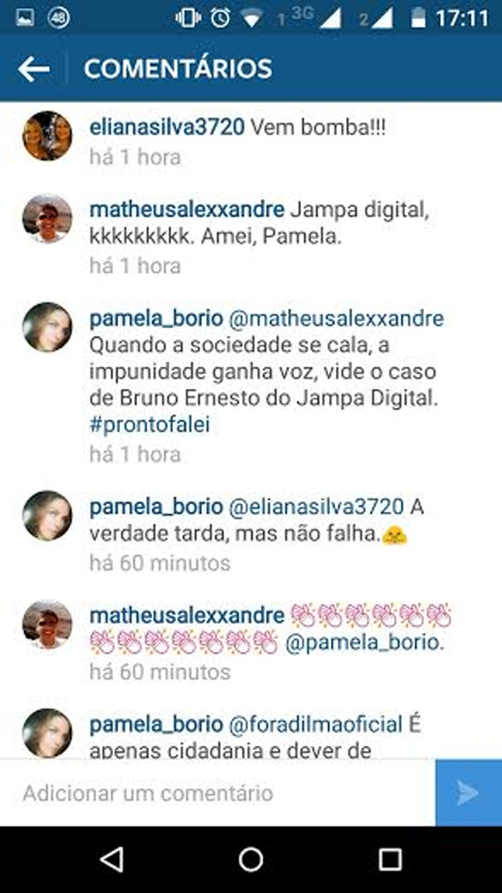 No Intagram, Pâmela ligou morte de Bruno ao Jampa Digital