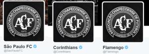 Clubes mudaram o escudo em homenagem à Chapecoense (Foto: Reprodução)