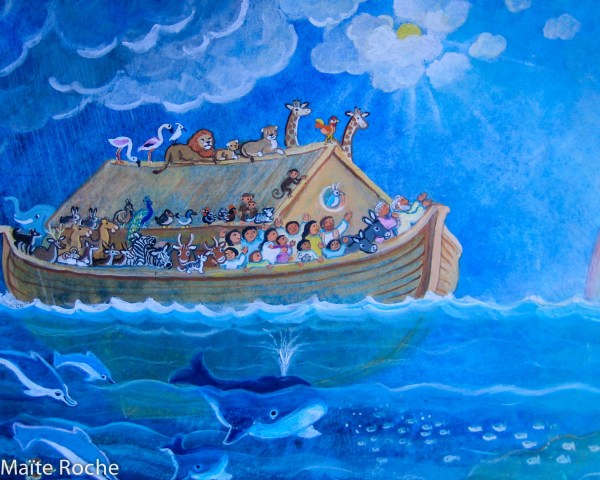 L'arche de Noé, détail, La belle histoire de la Bible, Maïte Roche, Mame