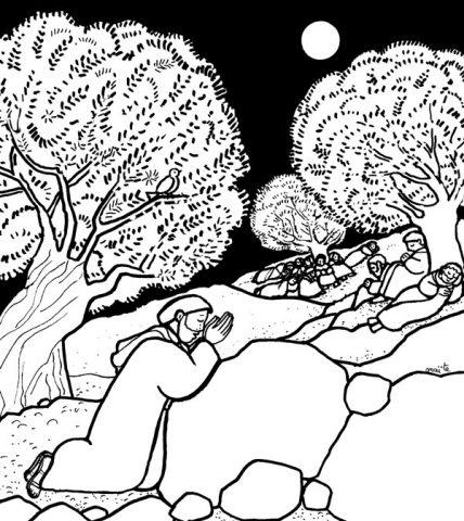 Jésus sur le Mont des Oliviers, Coloriages de Pâques, Maïte Roche, Mame