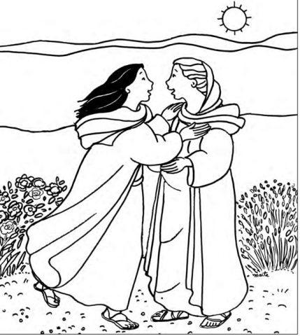 Marie et Elizabeth, Coloriages de l'Evangile, Maïte Roche, Mame