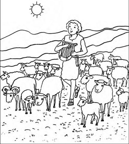 David chante le Seigneur, Coloriage de la Bible, Maïte Roche