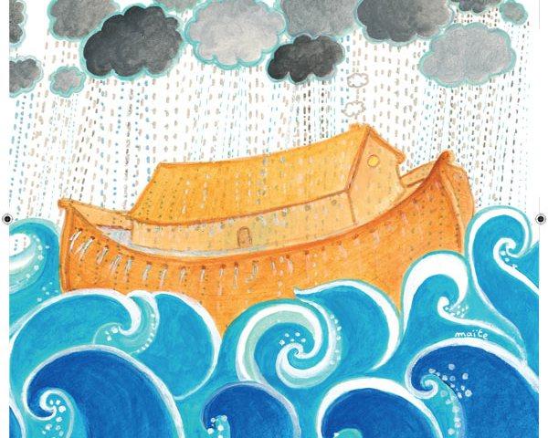 L'arche affronte le déluge, dans Le Voyage de Noé, Maïte Roche, Mame