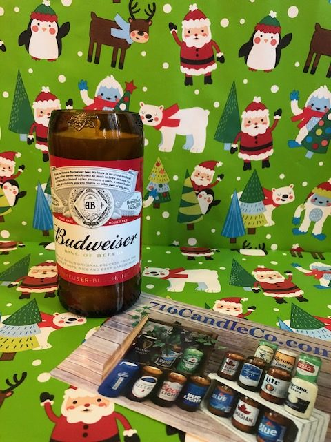 Budweiser Glass Beer Bottle Soy Wax Candle 716 Candle Co.