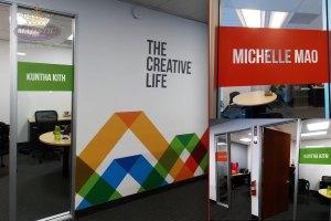 Lobby design ideas_company culture wall mural