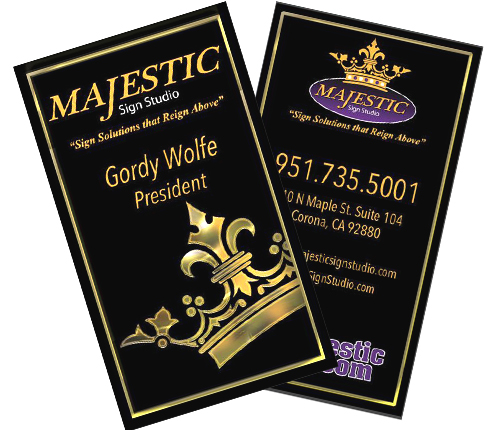 Best business card design winner 2017 majestic sign studio winning business card design projects reheart Choice Image
