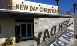 Church Building Sign with Flat Cut Aluminum Letters