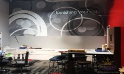 Wall Mural w/ PVC & Brushed Aluminum Dimensional Letters