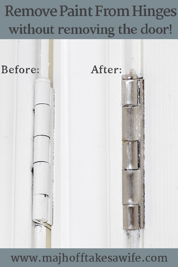 Need to remove paint from your door hinges? I've found the answer to removing paint without removing your doors! Forget harsh chemicals, vinegar or baking soda. This simple household product is all you need to get your hardware looking brand new! #cleaning #paintremoval #handytips via @mrsmajorhoff