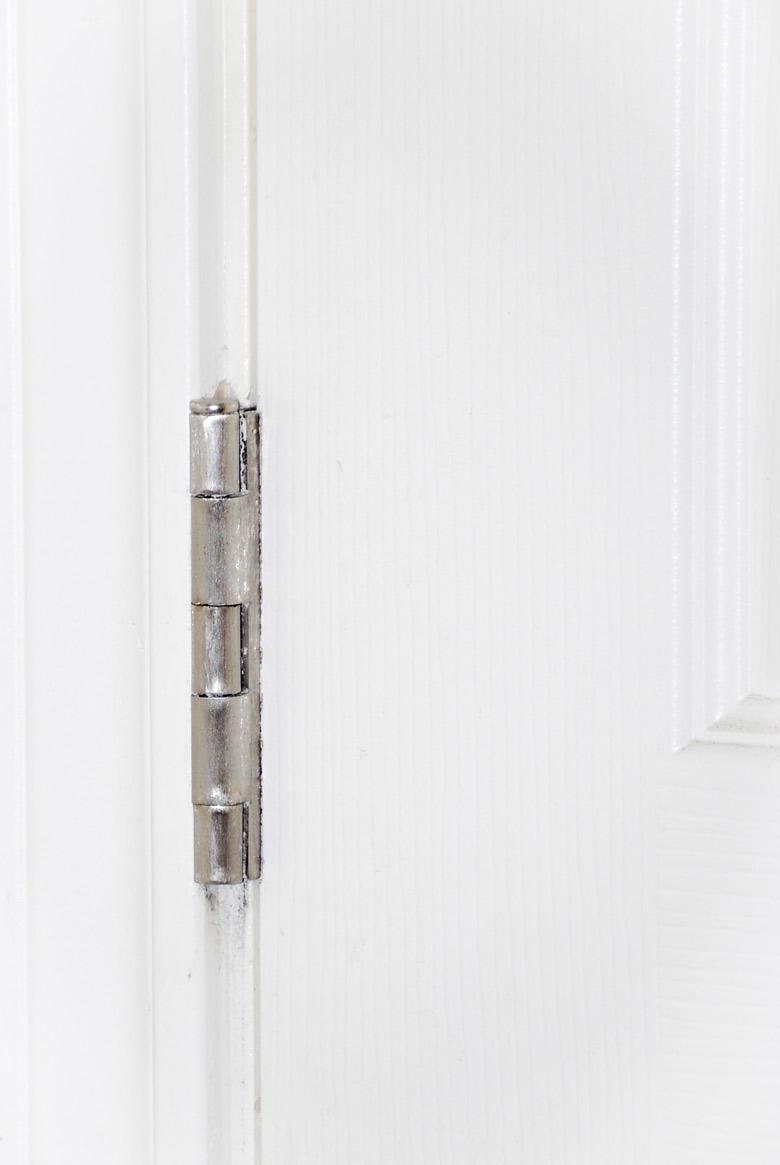 shiny brushed silver door hinge
