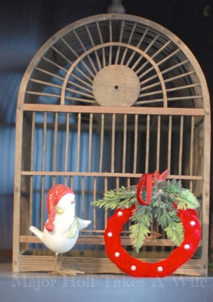 Christmas Bird Cage Glitter bird wreath