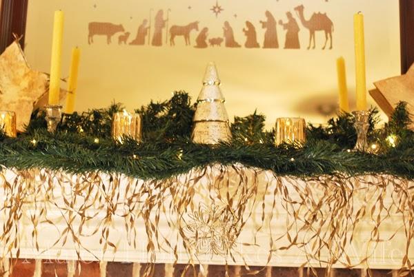 Nativity on mirrow mercury glass