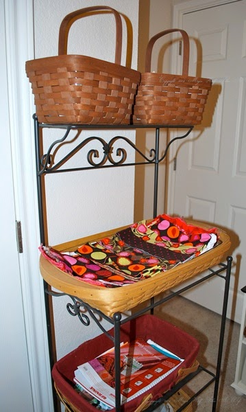 Longaberger wrought iron stand with fabric strips