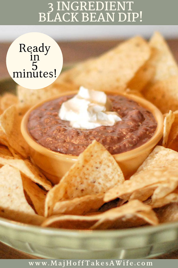 Looking for a fast recipe for easy black bean dip? You will love this 3 ingredient Mexican inspired creamy black bean dip. Serve warm or cold and make it as spicy as you like. A healthy alternative to many fattening dips. Smear on tortillas with cheese for fast tacos or with chips for a favorite party dip! via @mrsmajorhoff
