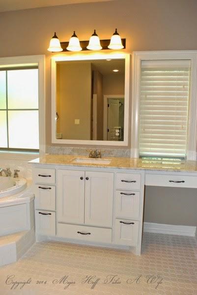 Master bath white vanity