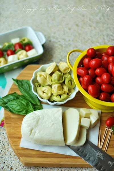 Fresh mozzarella for basil tomato tortellini skewers
