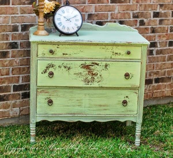 Miss Mustard Seed Luckett s Green on Antique Dresser