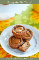 Pumpkin pie tarts are an adorable fall dessert! Features mini gingerbread crusts and a homemade pumpkin spice custard that is divine!
