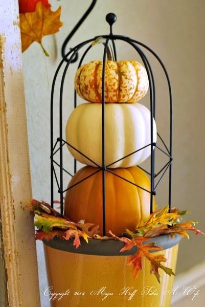 Pumpkin topiary with dollar store pumpkins