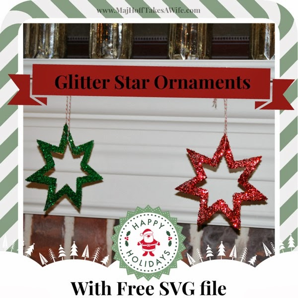 Glittered Star Ornaments with Free SVG File