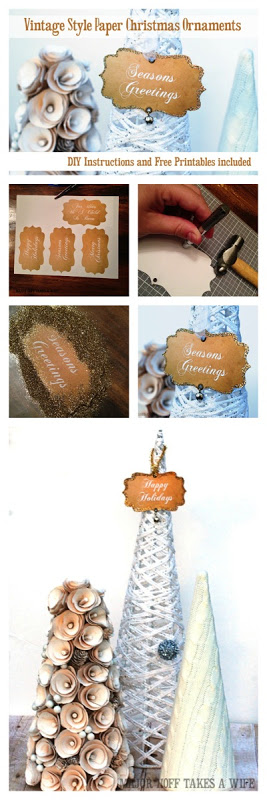 Vintage Style Paper Christmas ornaments DIY instructions and free printables 4 different designs