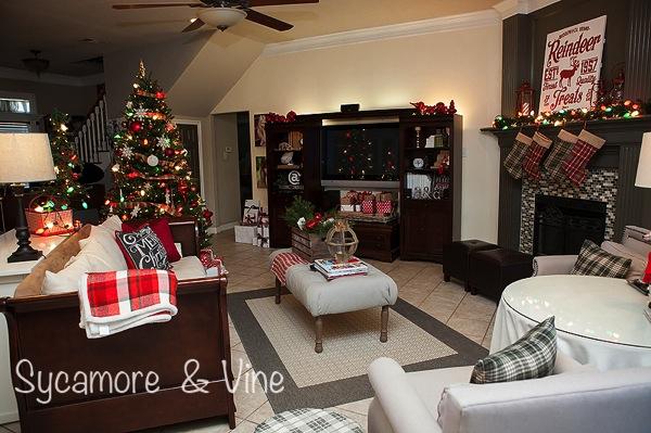 A plaid country Christmas Living Room.