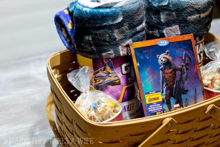 Guardians Of The Galaxy Movie and blanket gift basket. It's time for a Family Movie Night! You won't want to miss this recipe for the fabulous Movie Munch! Can you guess what the secret ingredient is? Post also shows how to create your own Guardians of the Galaxy Gift Basket, perfect for your favorite super hero fans, or for a Finals Survival kit. #OwnTheGalaxy #CBias #sp #ad