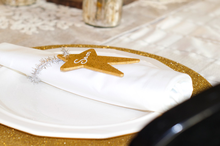 Handmade Christmas Decorations  ornament table place settings. Looking for homemade Christmas gifts? Look no further than these homemade Christmas ornaments. Use them as tree decorations, to grace your holiday table, or for fun tags to gifts! The ideas and endless and your friends and family will love these glittery stars personalized just for them!