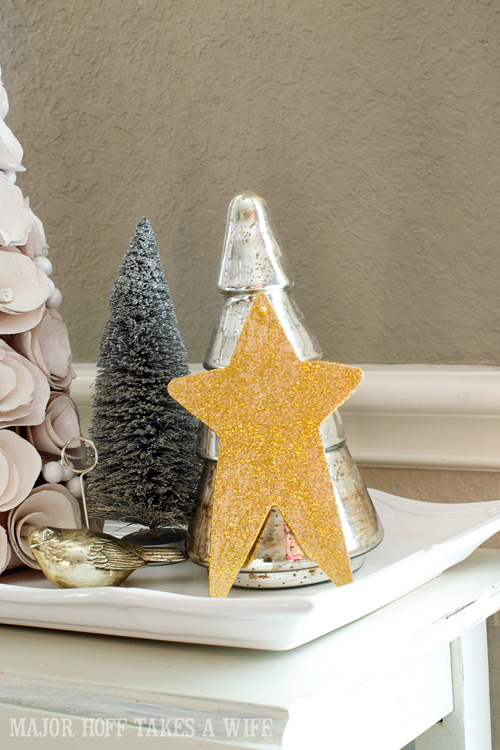Holiday vignettes for dining room. A delightful Dining Room Holiday Tour. See how Mrs Major Hoff decorates for Christmas. The tour features table decorations, dining room decorating ideas, place settings and an idea for  homemade Christmas gift that can be personalized for your holiday guests. This post is part of the Home For The Holidays Blog Tour.