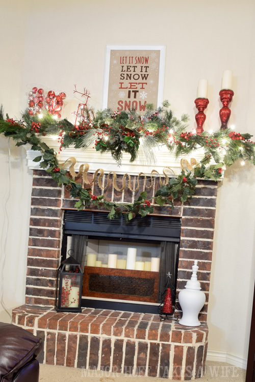 Let it snow fireplace mantel