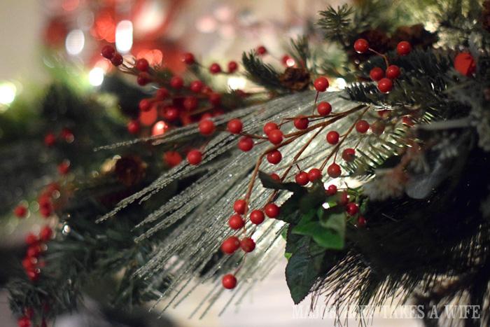 Pretty Greenery for a Christmas Mantel