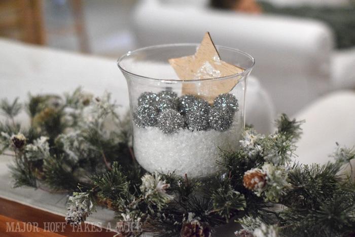 Snow silver glitter balls and birch bark star in a vase