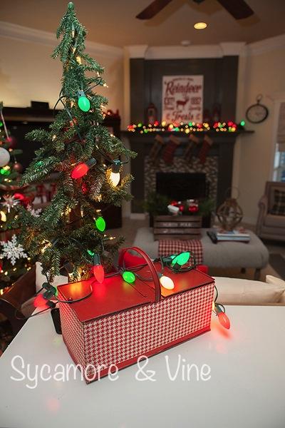 Vintage tin picnic baskets with lights for Christmas