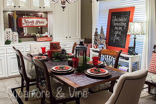 Plaid country Christmas inspired dining room decor
