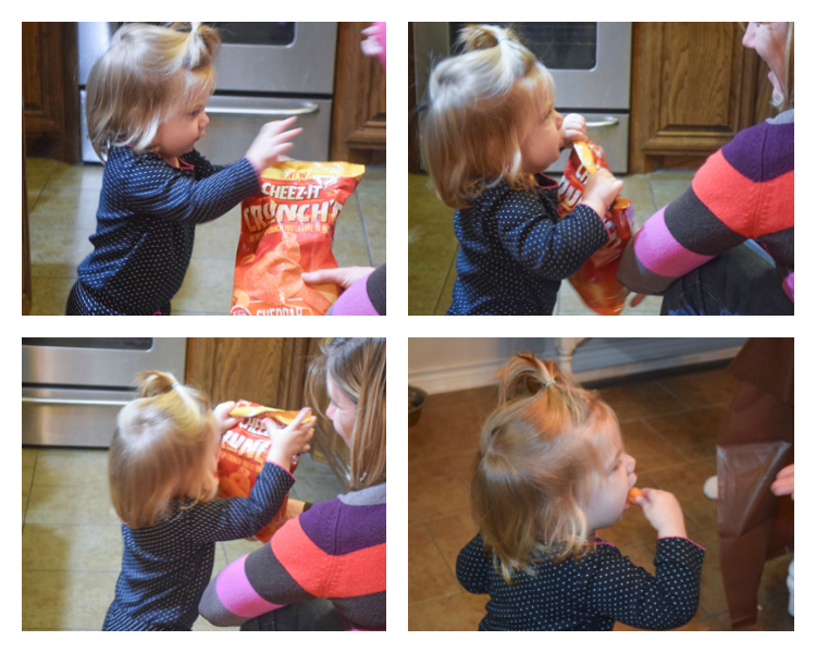 Baby A loves cheez it Crunch'd. An easy to throw party for the Big Game. Features easy party ideas for snacks, dips and decor. Includes a recipe for Roasted Red Pepper Hummus without seeds! #BigGameSnacks #collectiveBias #ad