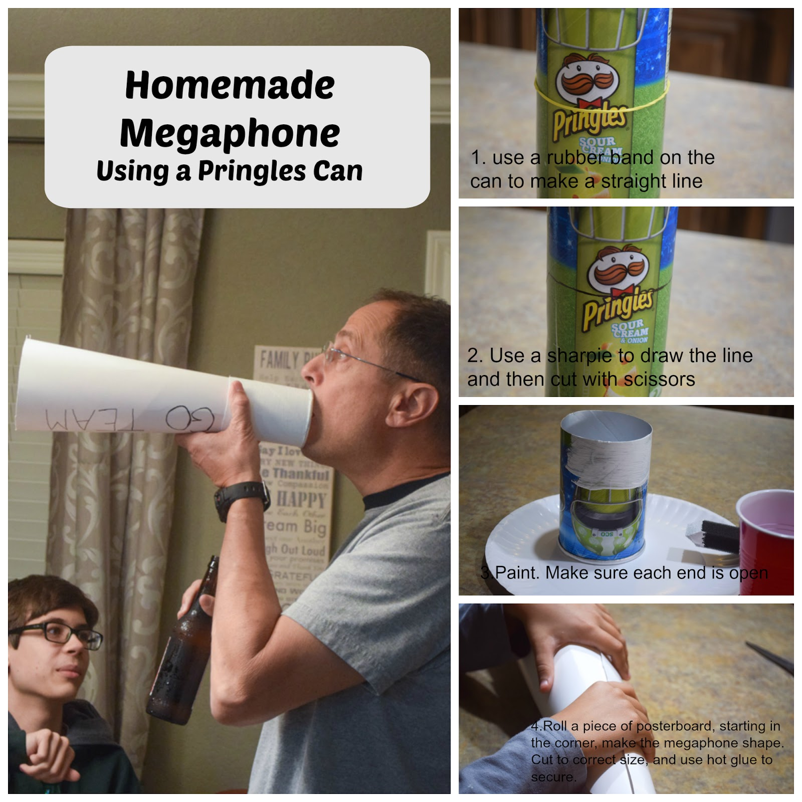 Homemade megaphone using a pringles can. An easy to throw party for the Big Game. Features easy party ideas for snacks, dips and decor. Includes a recipe for Roasted Red Pepper Hummus without seeds! #BigGameSnacks #collectiveBias #ad