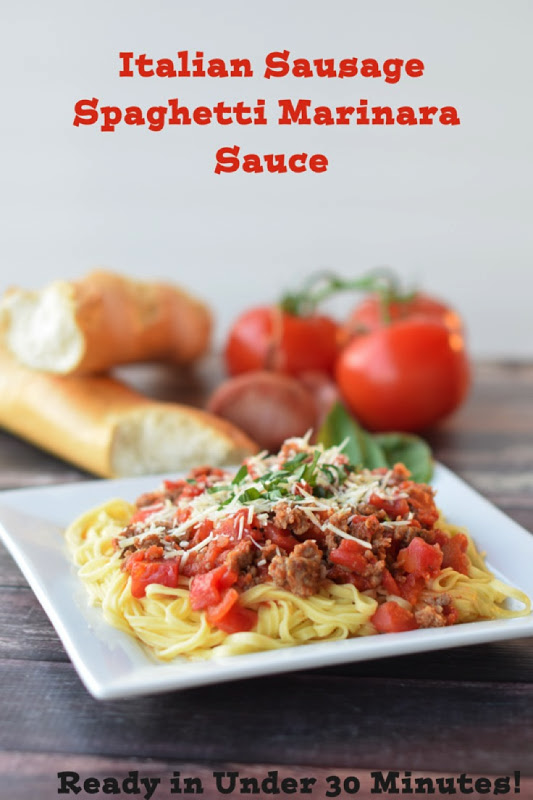 Homemade Spaghetti Sauce in less than 30 minutes! The perfect way to learn how to make homemade spaghetti sauce! In this learn to cook series, you will be taught everything you need to know to make the most scrumptious Italian Sausage Spaghetti Marinara Sauce. Part of the #TeachMeToCookSeries this meal is done and on the table in less than 30 minutes! WOW! #Pasta #spaghetti #homemade #Learntocook