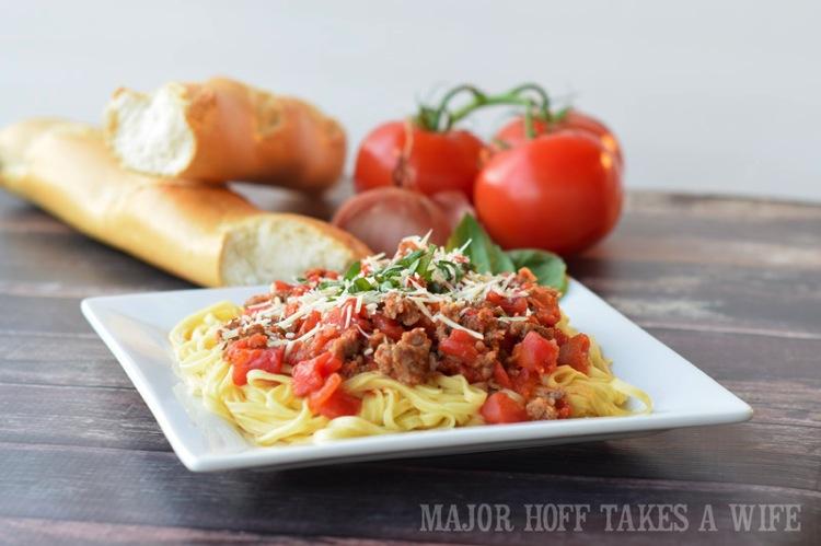 sausage marinara spaghetti is a family favorite