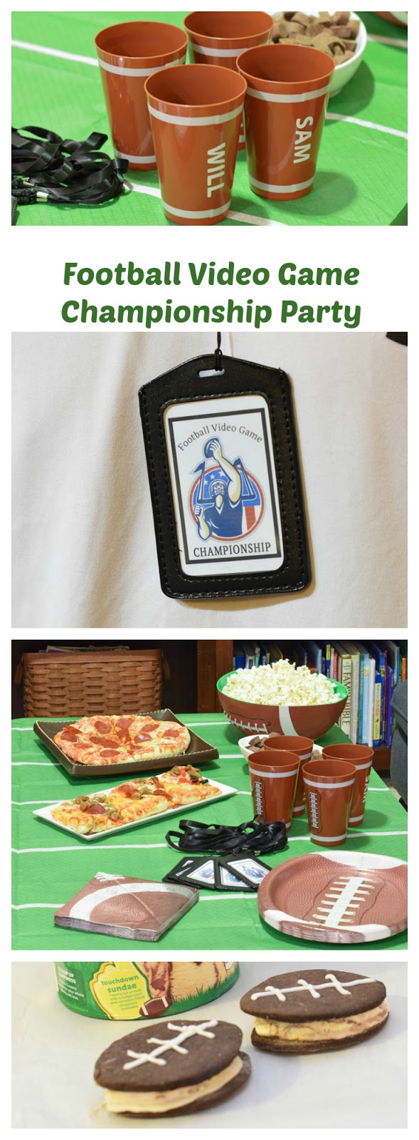 Football video game party ideas. Looking for a fun party for your teenage boy? Why not throw a Football video game party? Easy ideas for how to entertain kiddos during the Big Game. Features DiGiorno pizza, personalized football cups, free printable lanyards, and an incredible recipe for football shaped ice cream sandwiches! #GameTimeMVP #CollectiveBias #ad