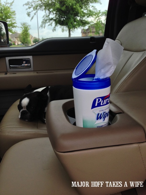 Purell wipes fit in a vehicle cup holder