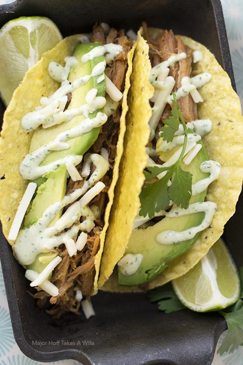 Crock pot pork tacos with cilantro aioli