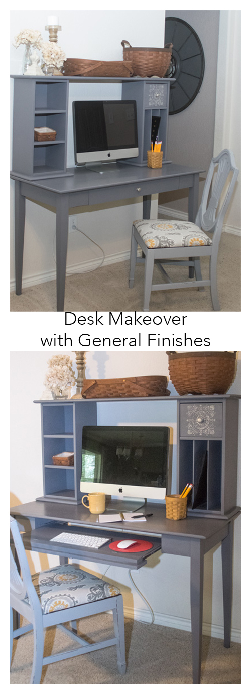 "A standard cherry Target type desk with hutch is revamped with General Finishes Milk Paint in Driftwood. Part of the Fab Furniture Flippin' Contest. Entered into the September 2015 ""geometric"" contest. Stencil design used on drawers. #paint #milkpaint #generalfinishes #FFFC #furniture #flip"