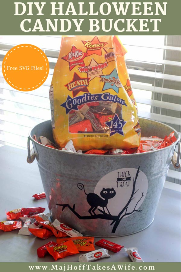 This DIY Halloween Candy bucket filled with candy for kids is easy to DIY with vinyl cut on your Cricut or other SVG machine. The FREE Halloween SVG files for this project are just the start of awesome Halloween ideas! #Halloween #CandyBucket #FREESVG #Cricut #MHTAW via @mrsmajorhoff